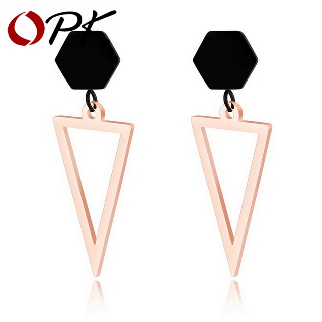 OPK Unique Triangle Stud Earrings For Women Rose Gold Color Nver