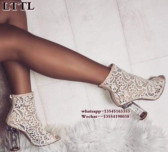 2018 women's boots open toe Clear Perspex heel sandals Black lace booties thick heel gladiator sandals Women gauze size 35-42 цена 2017