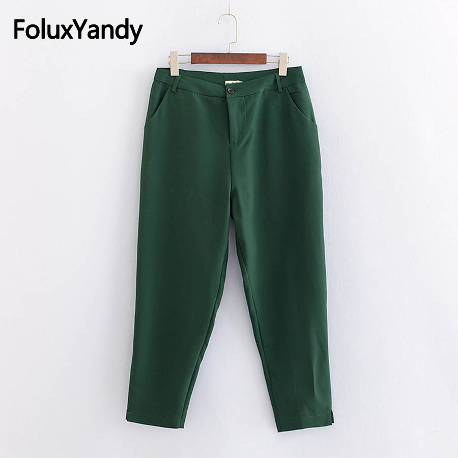 Solid Casual Pants Women Plus Size 3XL 4XL Regular Ankle-length Pencil Pants Trousers KKFY2538