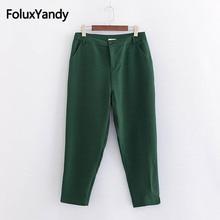 Solid Casual Pants Women Plus Size 3XL 4XL Regular Ankle-length Pencil Trousers KKFY2538