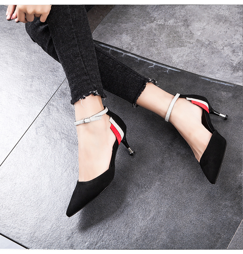 2018 new arrival Korean Concise Pointed Toe Office High Heels wedding shoes
