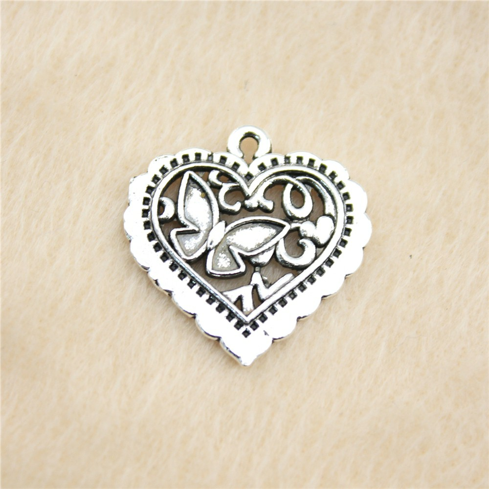 5Pcs Antique Silver Love Heart Charms Pendants Jewelry Necklace Making 38*28mm