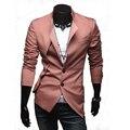 Promociones grandes 2013 Nuevos mens traje slim fit Deja dos diseño asimétrico casual blazer, Negro, de Color Caqui, N662