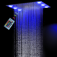 Shower Head Large Rain LED Shower high quality 304 Stainless Steel rainfall shower panel embedded ceiling 360*500mm