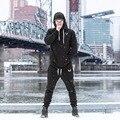 2016 nueva Llegada gymshark HOMBRES suprema de los hoodies tamaño M-XXL negro blanco con bolsillo frontal de algodón ajuste de rendimiento cómoda sudadera con capucha