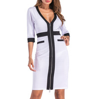 BLINGSTORY European And American V Neck 3 4 Sleeve Zipper Stitching Plus Size Woman Dress Elegant