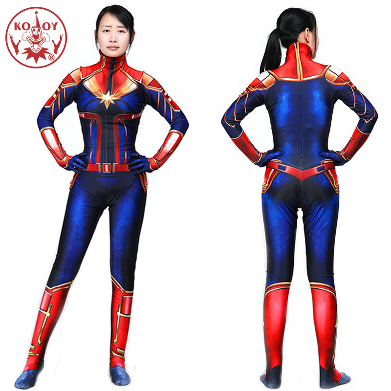 Hot Captain Marvel Cosplay Costume Women Adult Superhero Halloween women costume  Marvel Carol Danvers Bodysuit Jumpsuits