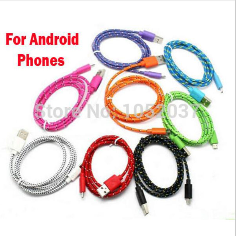 Nylon Micro usb Charger Cable data sync Cord Line for Samsung S7 S6 edge S4 S3 Note 2 4 5 HTC XiaoMi Huawei LG Lenovo Sony Nokia