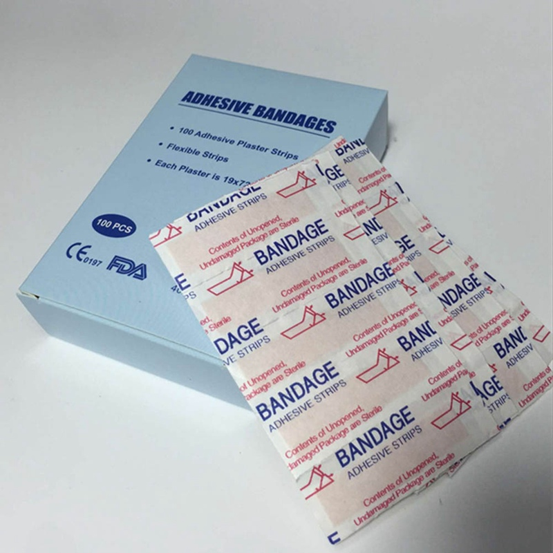100Pcs/Box Band-Aids Waterproof Breathable Cushion Adhesive Plaster Wound Hemostasis Sticker Band First Aid Bandage Medical
