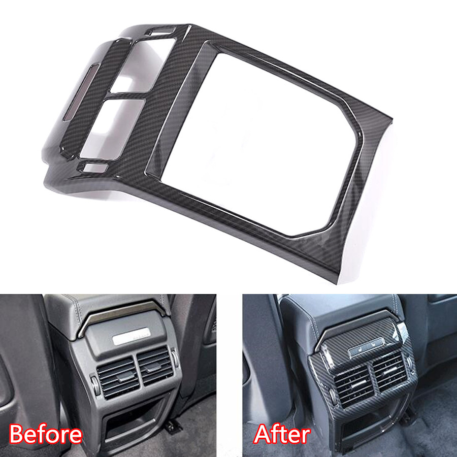 YAQUICKA Car Rear Air Outlet Vent Panel Frame Trim Styling Cover For Land Rover Range Rover Evoque 2012-2017 Carbon Fiber Black car styling 5x7mm u style black white checkered air vent grille console panel switch rim moulding trim outlet strip meter m