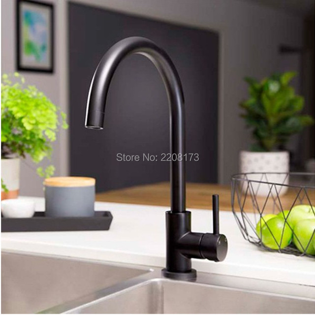 Promotions Simple style 100% Copper Matte black Kitchen Tap Copper Deck Mounted Faucet with Single Handle Hot & Cold Water Tap