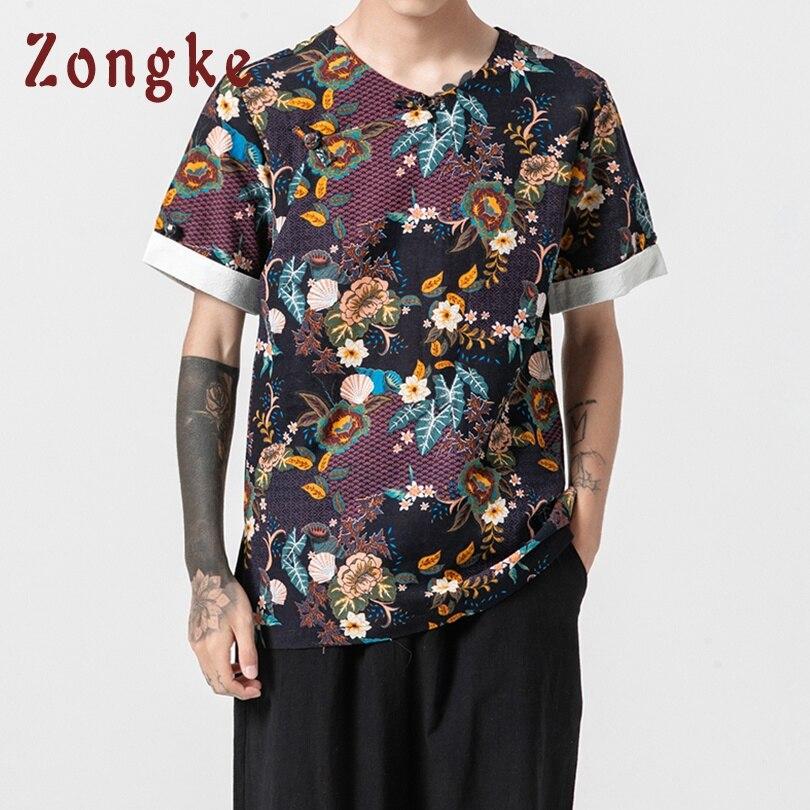 Zongke National Style T Shirt Men Tshirt Men T Shirt Harajuku Vintage T-Shirt Men Clothes Streetwear Hip Hop Summer Top 5XL 2019