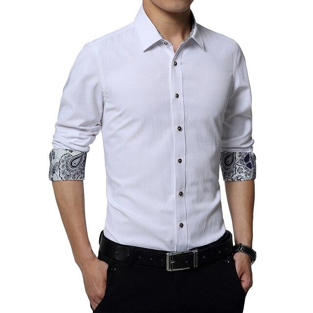 Плюс Размер 5XL 2016 Мода Осень Мужские Рубашки С Длинным рукавом Slim Fit Мужчины Двойной Манжеты Рубашки Белая Рубашка Мужчины Chothes