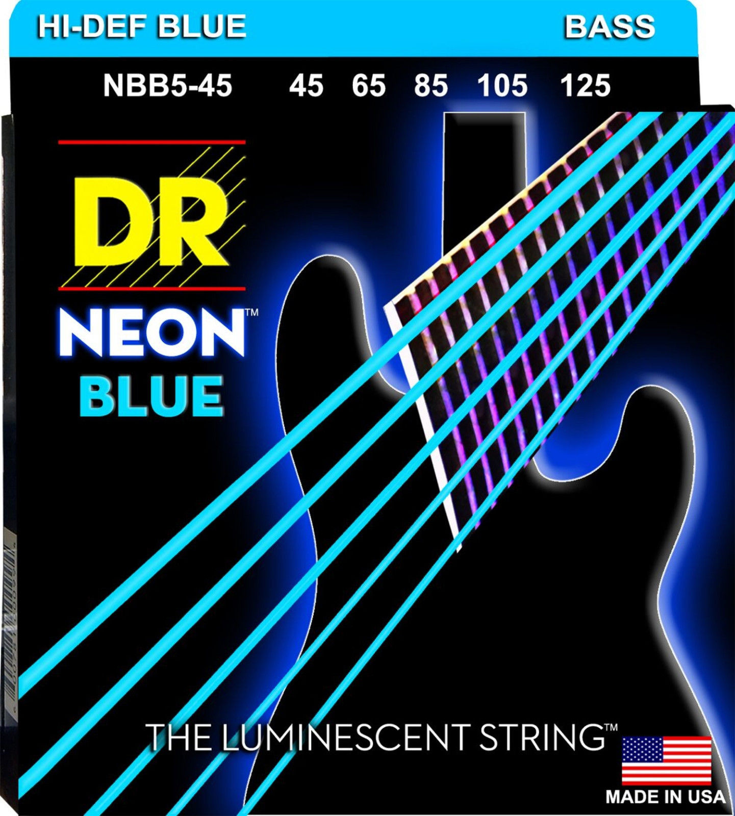 DR K3 Hi-def Neon Blue Luminescent Bass Guitar Strings, Light 40-100 Or Medium 45-105 Or 5-strings 45-125