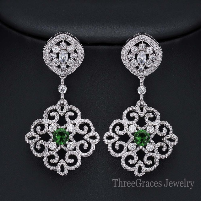 Elegant Women Wedding Party Jewelry White Gold Plated Cubic Zirconia Bridal Long Big Dangle Earrings With Green Crystal ER224