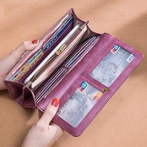 Image 4 - Cartera de cuero genuino 2020 para mujer, monedero con cerrojo de marca de lujo, billetera larga de cuero para mujer, billetera de teléfono de abeja, titular de la tarjeta femenina
