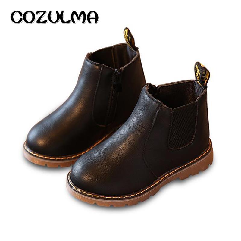 цена на COZULMA Autumn Winter Children Boots Kids Boys Girls Martin Boots Handmade Student Child Leather Shoes Girls Princess Snow Boots