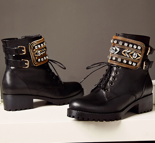 Women Spring Autumn Genuine Leather Thick Mid Heel Round Toe Side Zipper Crystal Lace Up Fashion Ankle Boots Size 34-39 SXQ0811 ladies casual lace up flat ankle boots fashion round toe plain cow leather boots for women female genuine leather autumn boots