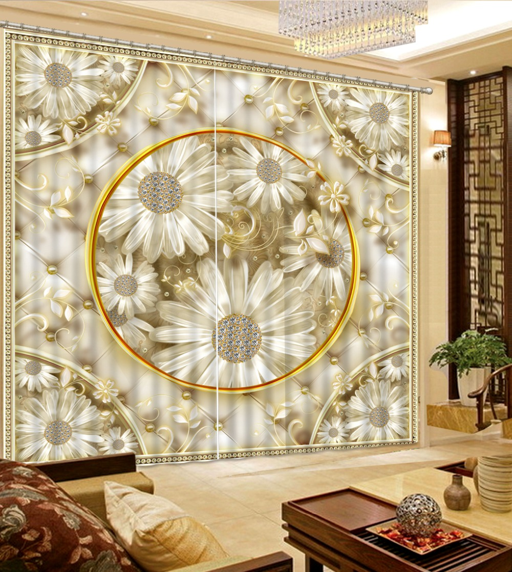 Decoration curtains Flowers print Chinese Customized 3D Blackout Curtains Living Room Bedroom Hotel Window
