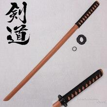 Espadas de madera Katana Bokken Kendo Samurai, espada para practicar Cosplay decorativo de 100cm/39,37 pulgadas con funda de PU