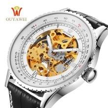OUYAWEI Men Mechanical Watch White Creative design dial Skeleton automatic Watch Top Brand Luxury Leather Wristwatch Male Clock стоимость
