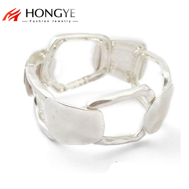 Nya glänsande Silver Wide Armband Hollow Women / Men Statement Manschett Armband Bangle Justerbar bijoux