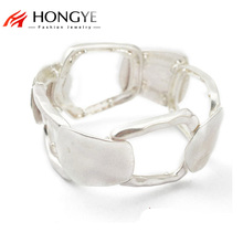 New Shiny Silver Plated Wide Bracelets Geometric Hollow Out Statement Alloy Cuff Bangle Adjustable For Women/Men geometric hollow out statement cuff bracelet