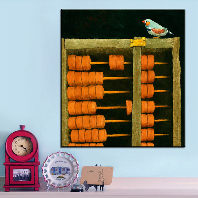 Large Size Printing Oil Painting Abacus Finch Wall Painting Steampunk Wall  Art Picture For Living Room