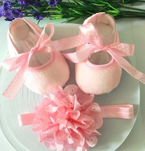 Pink Kids Shoes for Girl Princess Lace Headband Cute Infant Girl Toddler Shoes Set Newborn Photography