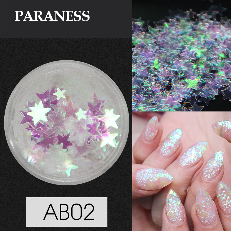 Paraness 1 Box Holo Nail Glitter Flakes Holographic Glitter Nail Art Mixes Heart Round Star Nail Sequins Decorations Manicure