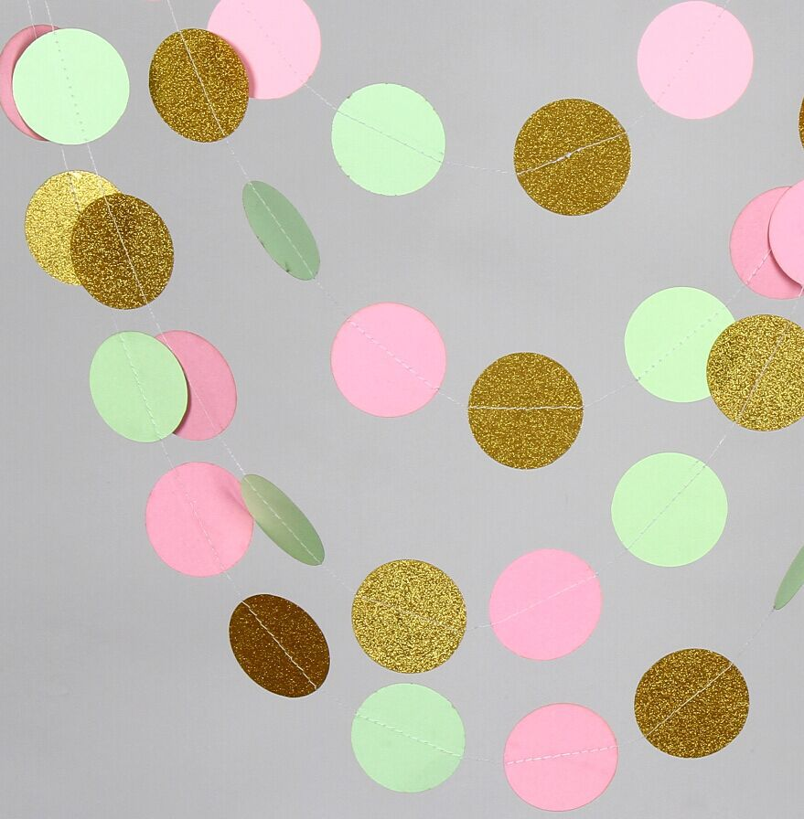 Gold color cardstock paper - 10 Feets Wedding Garland Pink Mint Green Glittler Gold Paper Garland Baby Shower Birthday Decor Party Decorations