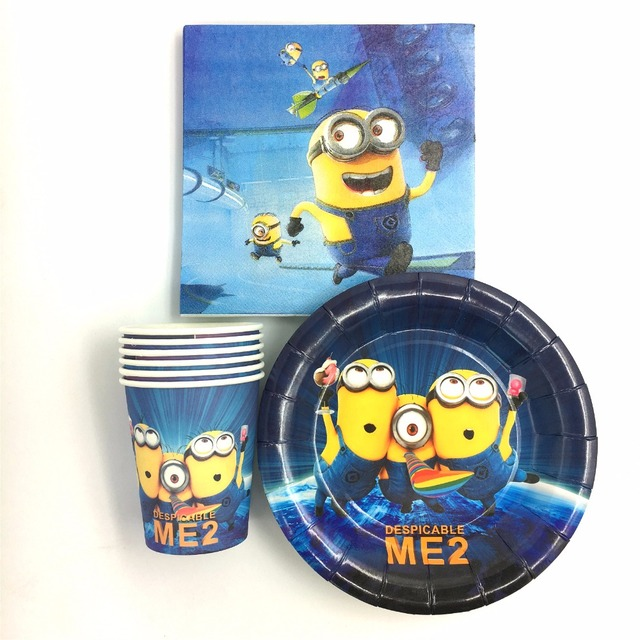 60pcs Kids minions birthday party supplies children birthday decorations 20pcs cups+20pcs plates& 20pcs Napkins