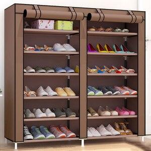 Image 2 - שורות זוגי גדול נעלי ארון אחסון שאינו ארוג בד נעלי ארגונית מדף DIY הרכבה אבק הוכחה נעלי מדפים נעל Rack