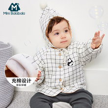 baby boys warm coats winter newborn baby casual cotton thick velvet jackets for bebe boys infant baby clothing outwear(China)