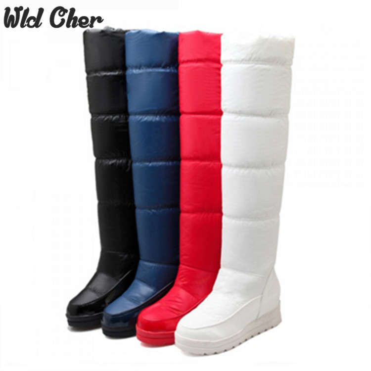 Charmant 2017 bottes d'hiver à plate-forme femmes bottes de Ski bottes de neige chaudes mi-jambe chaussures d'hiver taille 34-43 noir blanc rouge