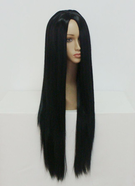 MCOSER Free Shipping High Grade Anime Classical 80cm Long Black Fashion Women Hair Party  Lolita Cosplay Wig