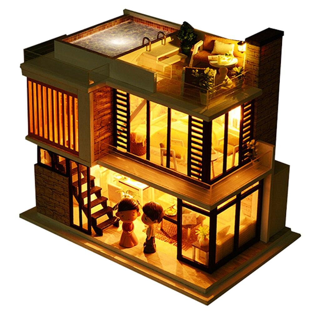 Maison de poupée Diy Miniature En Bois Miniaturas Dollhouse Meubles Piscine Bâtiment villa Kits Jouets pour Enfant