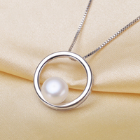 100 Real Freshwater Pearl Round Circle Sun Pendant Necklace Pendant With Chain Fashion 925 Sterling Silver