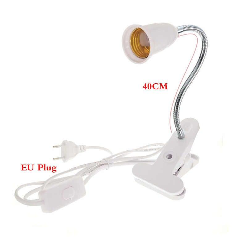 AC 85-265 V США/ЕС Plug E27 разъем 20 см 40 см Гибкий клип переключатель светодиодный держатель лампы гнездо Мощность кабель