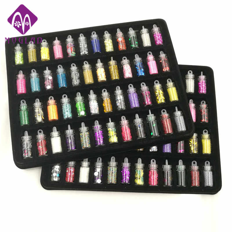 48 bottles/pack nail glitter powder fitness women decoration crush shell pearl beads mini bottle nail art charm