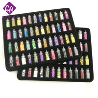 48 Bottles Pack Nail Glitter Powder Fitness Women Decoration Crush Shell Pearl Beads Mini Bottle Nail