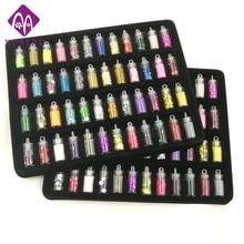 48 bottles/pack nail glitter powder fitness women decoration crush shell pearl beads mini bottle nail art charm