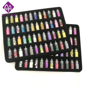 Image 1 - 48 bottles/pack nail glitter powder fitness women decoration crush shell pearl beads mini bottle nail art charm