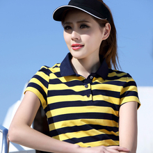 2017 Striped Short-sleeved T-shirt Female Spring And Summer Plus Size Was Thin Cotton Loose Casual Polo Shirts 5602