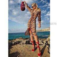 Для женщин Глубокий V средства ухода за кожей шеи 100% шелк тигр печати Вивьен платье с длинными рукавами и пуговицами спереди