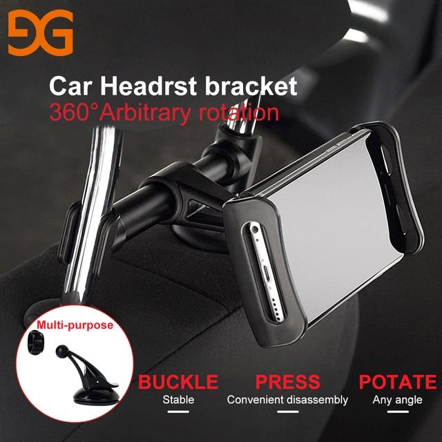 Gusgu автомобильный держатель телефона подголовник Кронштейн Поворот на 360 градусов регулируемых универсальный на заднем сиденье подставка для мобильного телефона iPad Планшеты