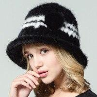 QiuSiDun 2017 Real Mink Knitting Fur Hat Big Eaves Hats Winter Women Warm Formal Fashion Caps Russian Fur Casual Solid Cap