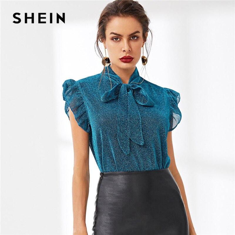 SHEIN Blau Krawatte Neck Rüschen Armloch Glitter Top Elegante Partei Stehen Kragen Kappe Hülse Bluse Frauen Sommer Arbeitskleidung Blusen