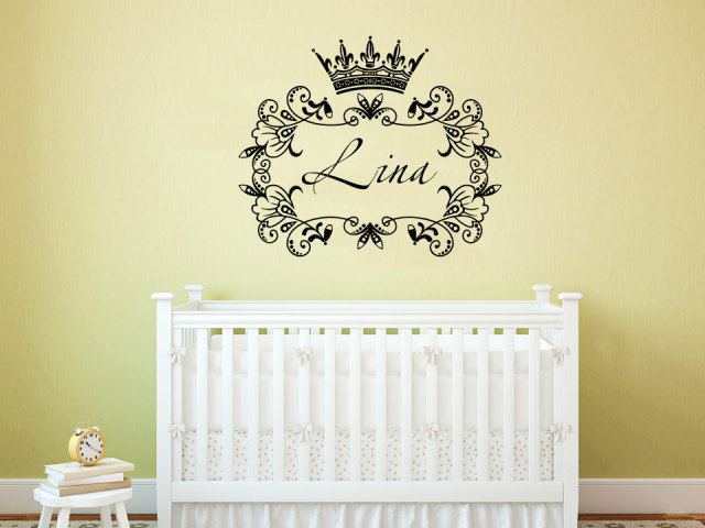 Crown princess frame custom wall decals personalized girls name decor nursery baby room art vinyl murals