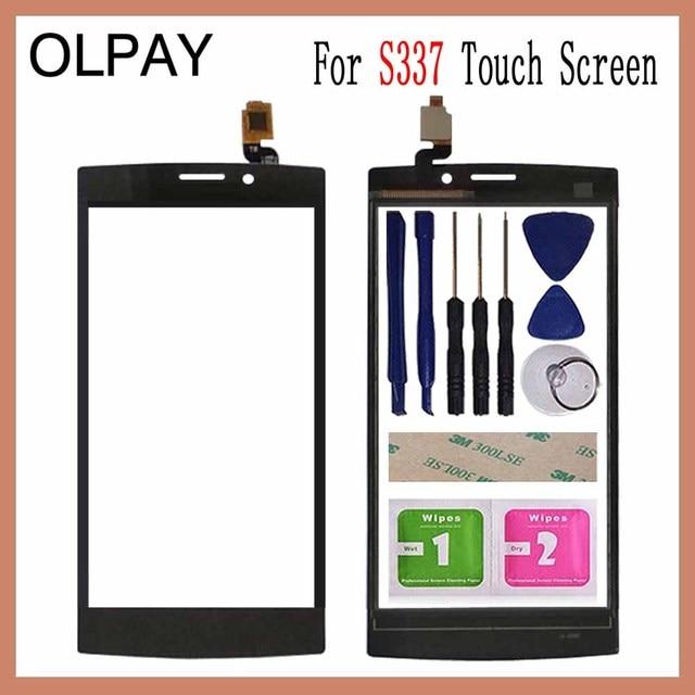 OLPAY 4.0 ''טלפון נייד עבור philips S337 מגע מסך זכוכית קדמית זכוכית Digitizer פנל עדשת חיישן להגמיש כבל כלים